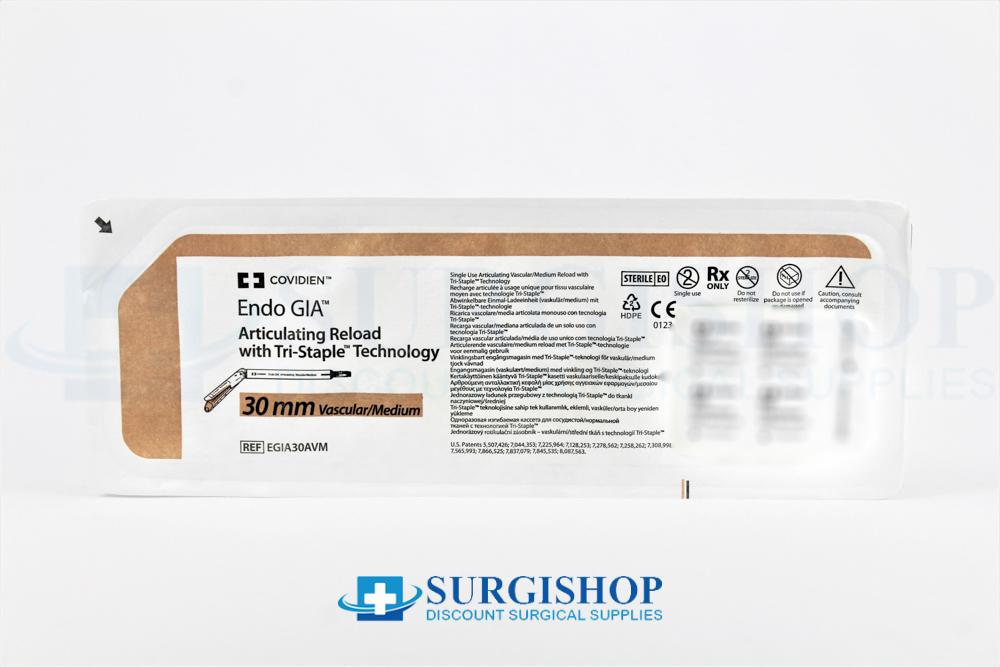 Covidien Endo GIA Articulating Vascular/Medium Tri-Staple Reload 30.0mm (Gold)