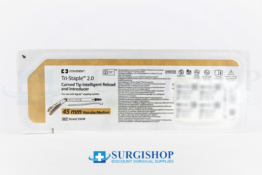 Covidien Signia Tri-Staple 2.0 Curved Tip Vascular/Medium Reload 45.0mm (Gold)