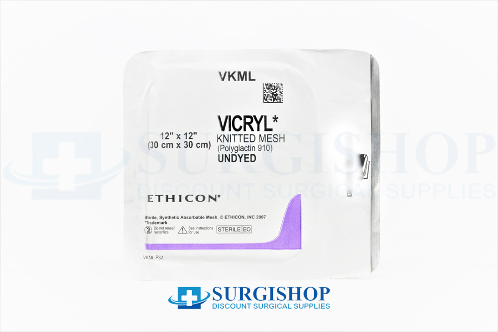 Ethicon Vicryl (Polyglactin 910) Undyed Knitted Mesh 30.0cm x 30.0cm