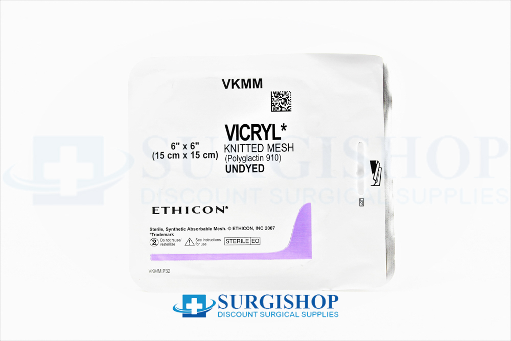Ethicon Vicryl (Polyglactin 910) Undyed Knitted Mesh 15.0cm x 15.0cm