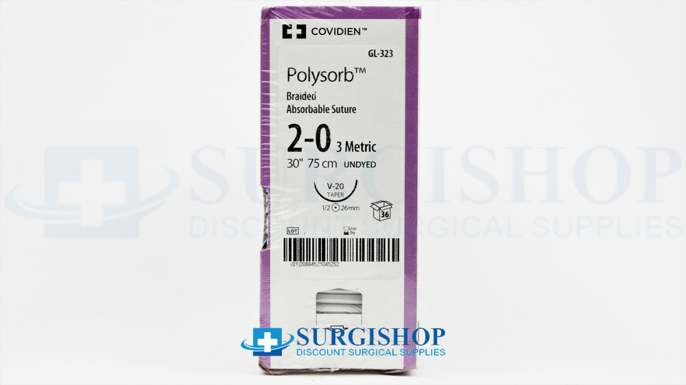 Covidien Suture Polysorb 2-0 (Undyed)
