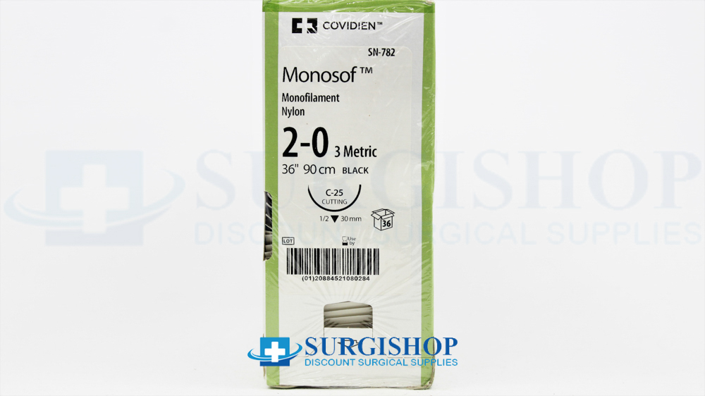 SN-782 - Covidien Suture Monosof 2-0 (Black) Box of 36