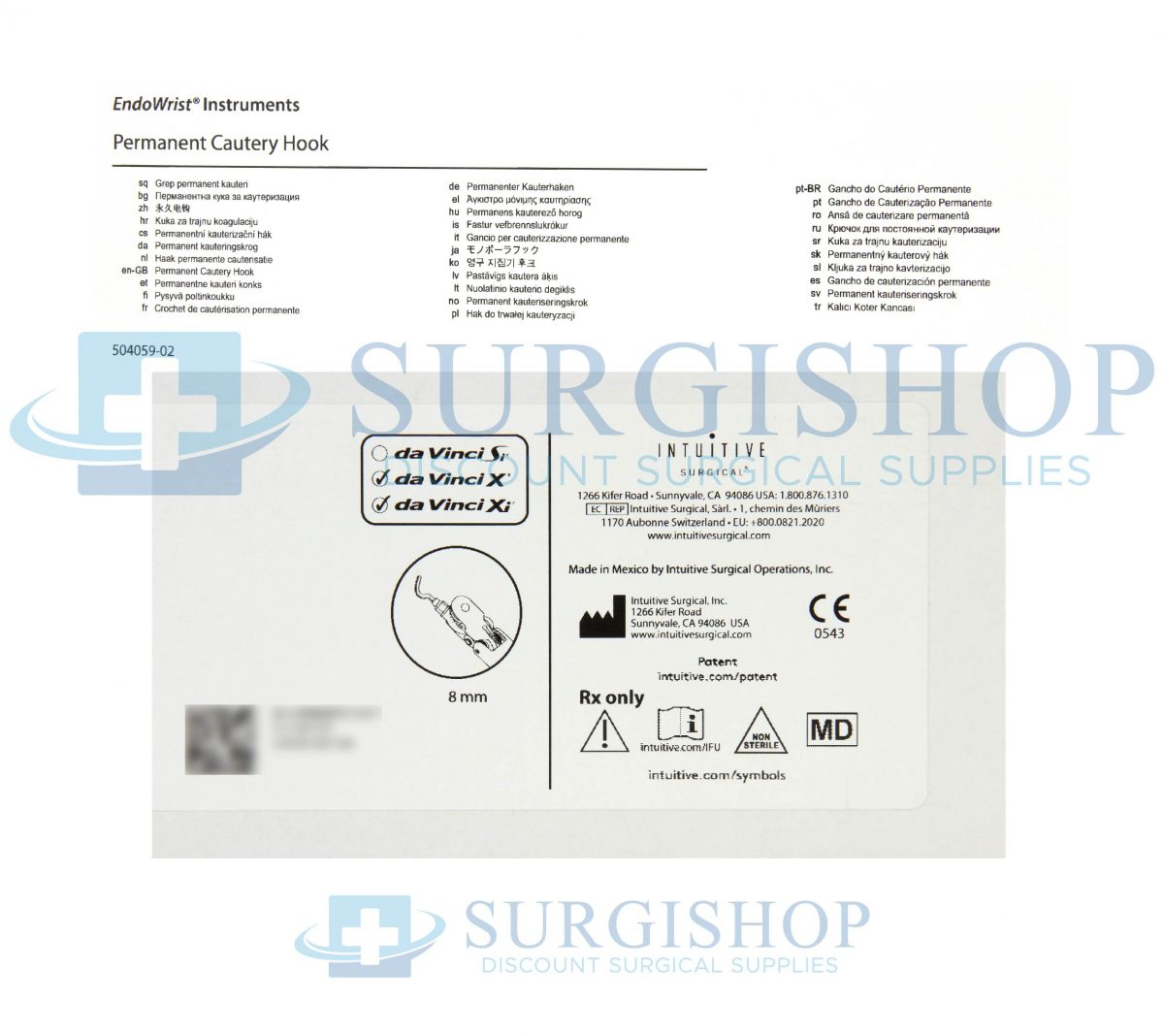 470183 – Intuitive Surgical Da Vinci X/xi 8mm Permanent Cautery Hook Each