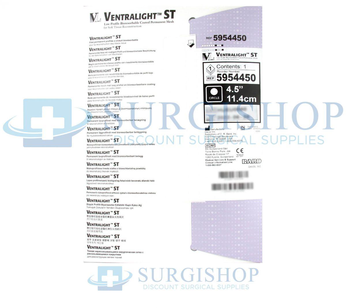 5954450 – Bard Ventralight ST Mesh: 4.5″ Circle Each