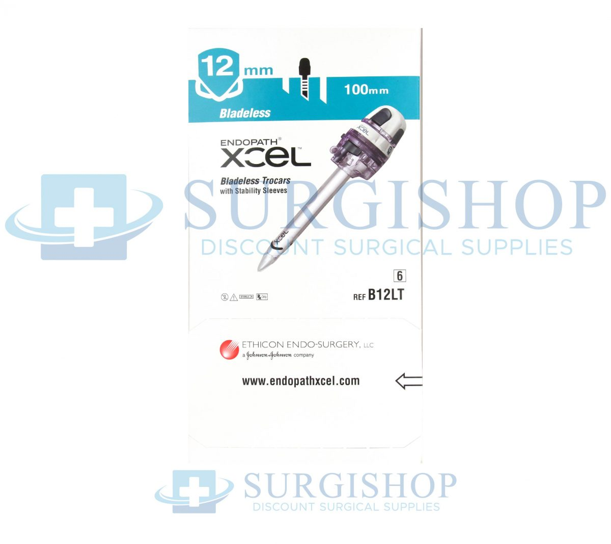 B12LT – Ethicon Endopath Xcel Trocar: Bladeless Trocar w/ Stability Sleeve 12mm – 100mm Box of 6