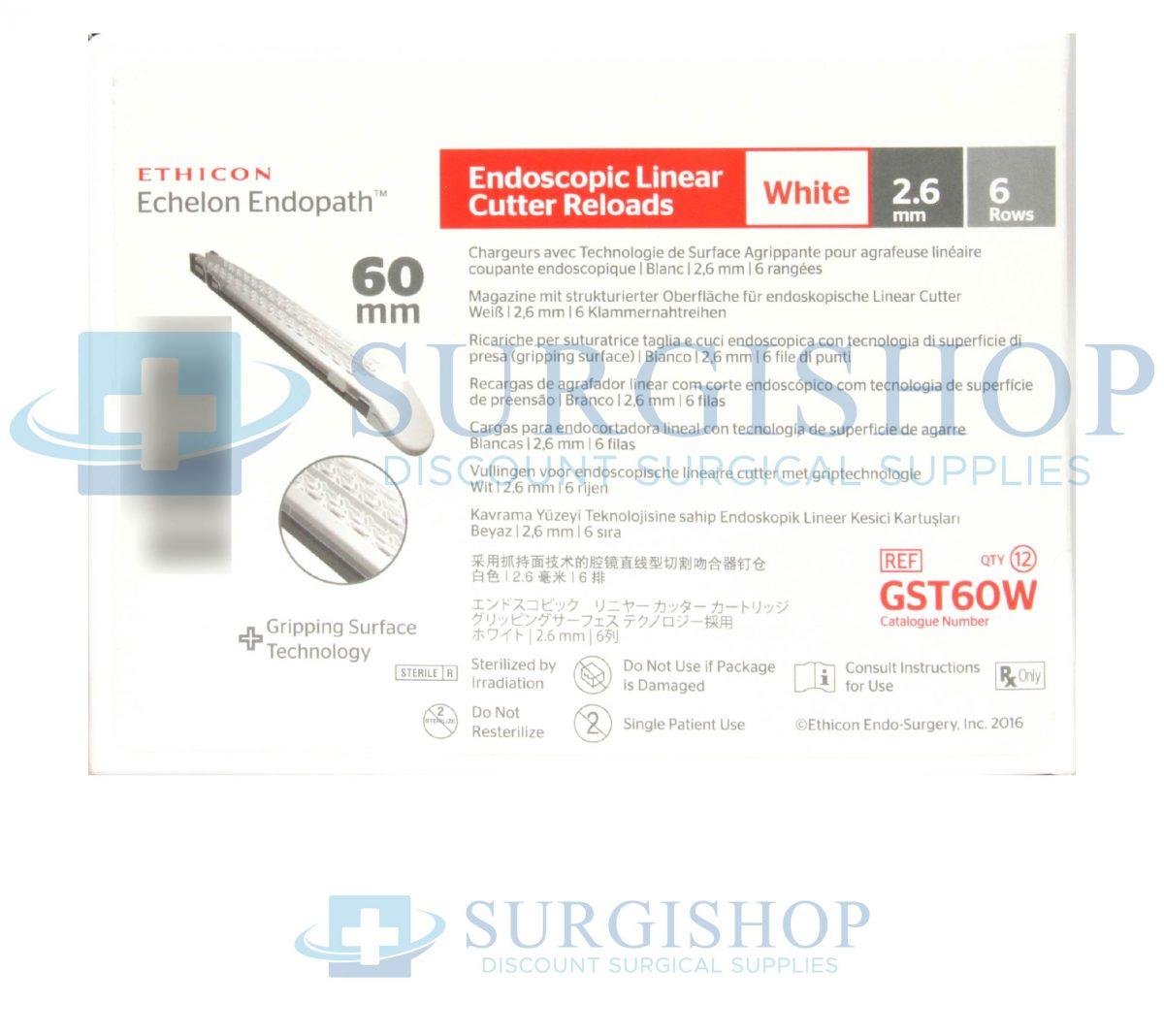 GST60W – Ethicon Echelon Flex GST System Reload (White) 60.0mm x 2.6mm Box of 12