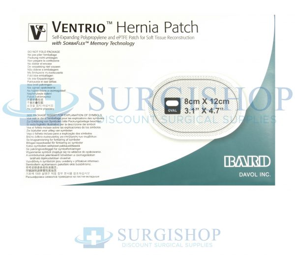 Bard Mesh Ventrio Hernia Patch Small Oval With Eptfe 8cm X 12cm