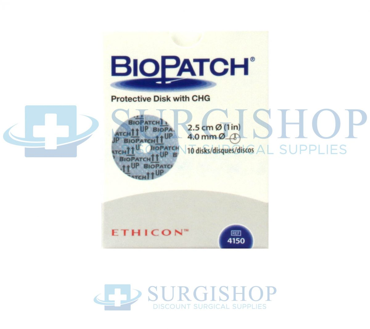 Ethicon BioPatch Protective Disk CHG 1.0in 4.0mm Central Hole