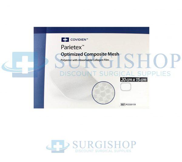 Covidien Parietex Optimized Composite Polyester Mesh w/ Absrb Collagen Film 20-15cm